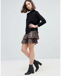 Ichi | Black Tiered Leopard Print Skirt | Lyst