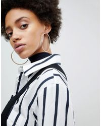 ASOS - Metallic Large Flat Edge Hoop Earrings - Lyst