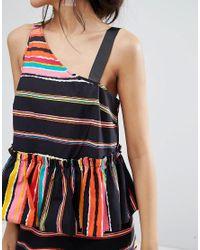 ASOS | Multicolor Cotton Asymmetric Strap Pephem Top In Stripe Co-ord | Lyst