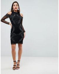 ASOS - Black Asos Cold Shoulder Embellished Midi Dress - Lyst