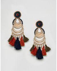 Glamorous - Multicolor Drop Tassel Statement Earrings - Lyst