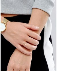 ASOS - Metallic Gold Plated Sterling Silver Pearl Bar Ring - Lyst