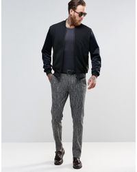 ASOS | Blue Slim Suit Pants In Textured Fabric In Black And White for Men | Lyst