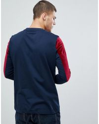 ASOS - Blue Asos Long Sleeve T-shirt In Velour With Taping for Men - Lyst