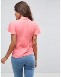 ASOS - Pink Ruffle Blouse With High Neck - Lyst