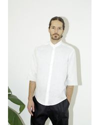 Assembly - White Linen Noncollar Shirt for Men - Lyst