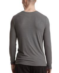 ATM - Gray Modal Rib Long Sleeve Henley for Men - Lyst