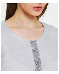 120% Lino - Gray Linen Tunic Dress - Lyst