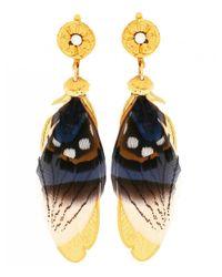 Gas Bijoux - Blue Sao Feather Drop Earrings - Lyst