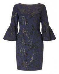 Aidan Mattox - Blue Metallic Jacquard Dress In Navy - Lyst