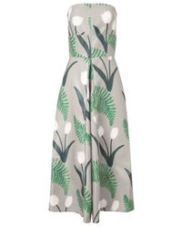 SUNO | Gray Tulip Print Strapless Dress | Lyst
