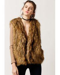 Azalea - Brown Faux Fur Vest - Lyst
