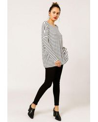 Azalea - Black Striped Dolman Sleeve Top - Lyst