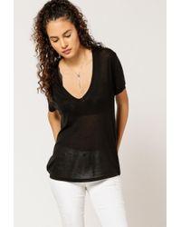 Anine Bing - Black Deep V-neck T-shirt - Lyst