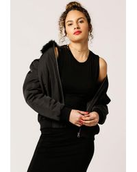 Azalea | Black Fur Collar Jacket | Lyst