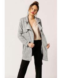 Azalea   Gray Lightweight Wrap Coat   Lyst