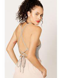 Azalea | Natural Striped Strappy-back Bodysuit | Lyst