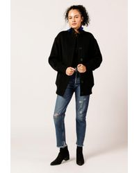 T By Alexander Wang - Black Double Faced Wool Ls Coat - Lyst