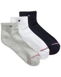 Tommy Hilfiger | Blue Sporty Quarter Socks 3 Pack | Lyst