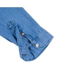 Paul Smith - Blue Men's Tailored-fit Mid-wash Denim Shirt for Men - Lyst
