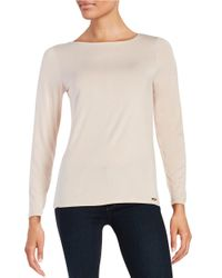 Calvin Klein | Pink Liquid Jersey Long Sleeved Top | Lyst