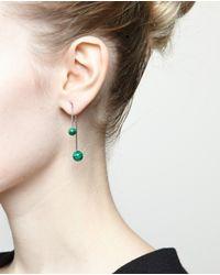 Asherali Knopfer - Black Gold And Malachite Bar Earring - Lyst