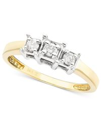 Macy's - Metallic Three-Stone Diamond Ring In 14K Gold (1/4 Ct. T.W.) - Lyst