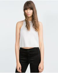 Zara | White Ribbed Top | Lyst