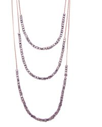 Oasis | Gray Triple Strand Cube Necklace | Lyst