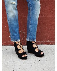Free People   Black Three Wishes Lace Up Wedge   Lyst