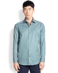 Saks Fifth Avenue | Green Gingham Plaid Sportshirt for Men | Lyst