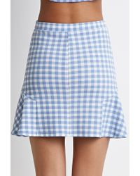 Forever 21 | Blue Gingham Print Fluted Skirt | Lyst