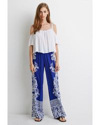 Forever 21   Blue Ornate Paisley Palazzo Pants   Lyst