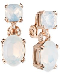Anne Klein | White Glass Stone And Crystal Clip-on Earrings | Lyst