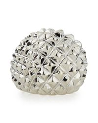 Kenneth Jay Lane - Metallic Adjustable Silvertone Pyramid Spike Ring - Lyst