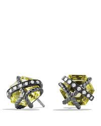 David Yurman - Yellow Cable Wrap Earrings With Lemon Citrine & Diamonds - Lyst
