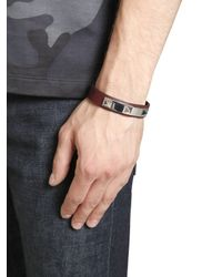 Valentino - Red Rhodium Studs On Leather Bracelet for Men - Lyst