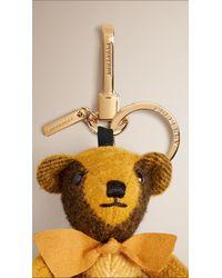 Burberry - Yellow Thomas Bear Check Cashmere Charm  - Lyst