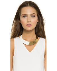 kate spade new york - Metallic Dive In Plate Statement Necklace - White - Lyst