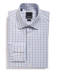 David Donahue | Blue Trim Fit Plaid Dress Shirt for Men | Lyst