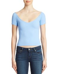 Jessica Simpson - Blue Off-The-Shoulder Crop Top - Lyst