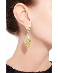 David Webb - Metallic Laurel Leaf Earrings - Lyst