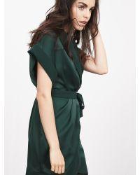 Banana Republic | Blue Br Monogram Satin Wrap Dress | Lyst