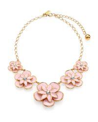 kate spade new york - Pink Graceful Floral Enamel Graduated Necklace - Lyst