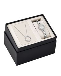 Bulova | Metallic Crystal Stainless Steel Watch And Pendant Box Set | Lyst