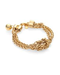 kate spade new york - Metallic Knotted Doublechain Bracelet - Lyst