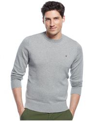 Tommy Hilfiger | Gray Signature Solid Crew-neck Sweater for Men | Lyst