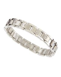 Link Up | Metallic Brushed Silvertone Link Bracelet for Men | Lyst