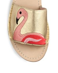 kate spade new york - Iggy Flamingo-embroidered Metallic Leather Sandals - Lyst