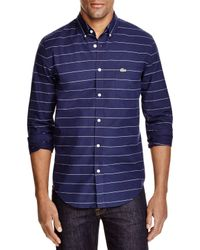 Lacoste - Blue Stripe Slim Fit Button Down Shirt for Men - Lyst